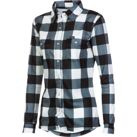 Ski The DAKINE Women's Mandy Check Long-Sleeve Shirt combines the look of a casual flannel with the moisture management and odor-controlling powers of a technical baselayer. This button-up will deal with your sweat while you ski and look great when you're resting up in the hut. - $51.96