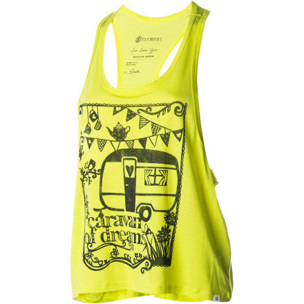 Skateboard An oversized armhole, bold hue, and bohemian screen print give the Element Women's Caravaning Ahoy Tank Top fun, splashy style and laid-back summery comfort. Made from polyester-rayon jersey, it's versatile and smooth for park-to-pub wear. - $25.95