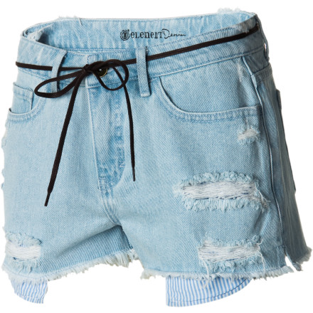 Skateboard A classic cut-off  with an ahead-of-the-curve high. sexy waist, the Element Women's Pier Short updates your low-rise denim wardrobe. Show some shape around the hips and rear, and gain comfort and modernity with this easy-wearing all-cotton crowd-pleaser. - $38.12