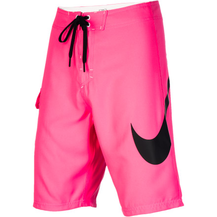 Surf Dive into action with the Nike Scout Swoosh Men's Board Short. It has a stretchy polyester fabric that has plenty of give for when you're surfing or showing off your beach volleyball skills, and it dries quickly so you're not soaking and shivering on the shore after you get out of the water. - $44.96