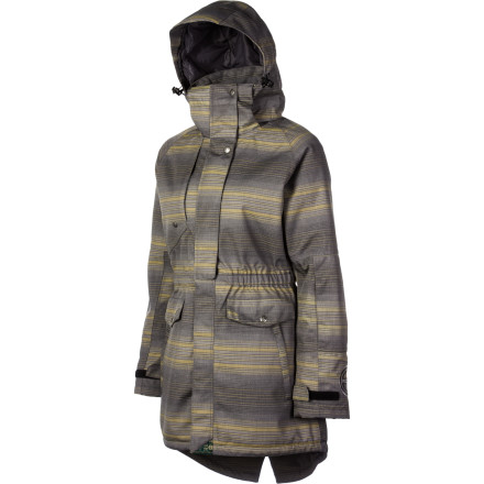 Snowboard Grungy flannel is out, but on-hill flannel is all the rage among rippers. Planet Earth Women's Villeray Insulated Jacket repels snow, sleet, or hail with its protective flannel-look shell, and its yummy insulation warms your bones. A long, stylie length and raglan sleeves exude casual-cool, even when you're hard-railing at lightning speed. - $108.00