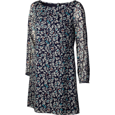 Entertainment A silk chiffon shift dress is sporty sophistication at its apex, and the pretty-print QSW Women's Blue Stone Floral Dress has versatility for beach-loving ladies. A polyester lining gives you comfortable coverage, and the basic shift silhouette exudes easy summer style. - $97.20