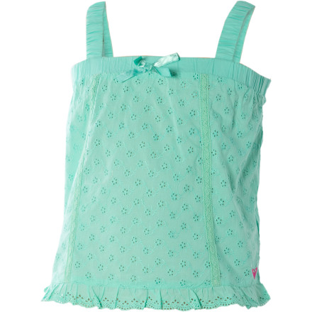Surf Give her the style needed for prancing and playing with the Roxy Little Girls' Laughable Tank Top. The Laughable features all the frills required for a lighthearted good time, including a scalloped hem with ruffles, bunched elastic straps, and lightweight cotton. - $13.60