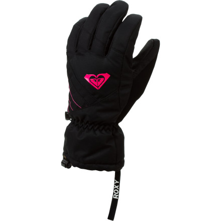 Surf Grab the Roxy Women's Pine Gloves, your goggles, hat, and neckwarmer before you leave the house for an epic bluebird day on the slopes. Light weatherproofing keeps your hands protected when you take a sudden spill in the terrain park, while its cozy insulation ensures your hands stay warm throughout the day. - $35.00