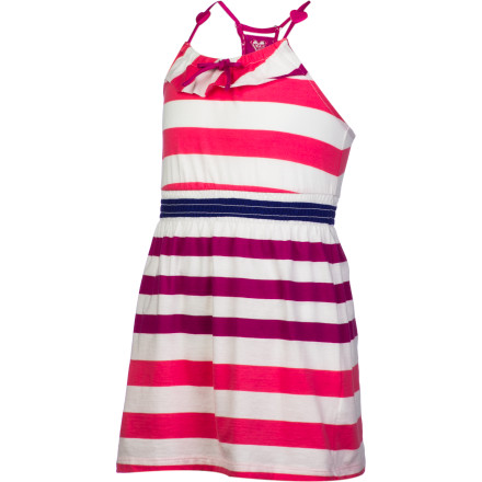 Surf Flirty, fun, and feminine, the Roxy Girls' Bittersweet Dress is destined to become your little lady's favorite. Cotton and polyester knit jersey feels soft and easy and is a cinch to wash and wear, so your sweet surfer-girl can enjoy the ruffled, heart-beaded frock anytime her heart desires. - $23.80