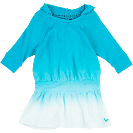 Surf A hoodie and a dress in one, the super-sporty, comfy-cozy Roxy Girls' Galoshes Dress loves to run amok in the park, coverup at the beach, and hang on the playground with friends. Its dip-dye style boasts bold color, and its raglan three-quarter sleeves provide fun fashion. Made from cotton-polyester French terry, this hoodie-dress is ready whenever she is. - $24.70