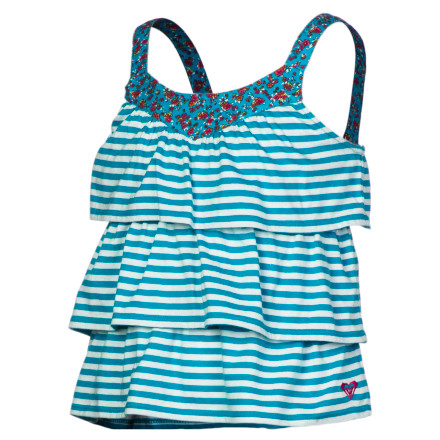 Surf Fun, flirty, tiered ruffles with stripes perfectly paired with printed yoke and straps make the Roxy Girls' Chatter Box Tank Top a style standout. Made from cotton and polyester jersey knit, it's soft, comfy, and everyday-easy for play at the park, beach, or backyard. In this movement-inspired tank, she'll be unstoppable. - $22.40