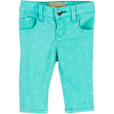 Surf Watch out, playgroup: the bright and stretchy Roxy Infant Girls' Skinny Rails Denim Pant is about to change everything. In the super-hip style of the big girls, this pant has skinny-jeans fit, colorful print, and five-pocket styling. With this much adorable style, her little world will never be the same. - $33.60