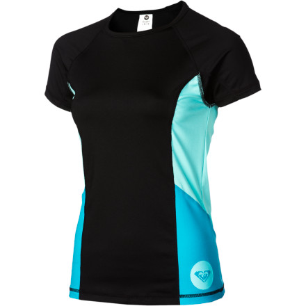 Surf The Roxy Women's Wave Rush Short-Sleeve Rashguard keeps you extra comfortable while you bob in the water and wait for the boat to whip around and pick you up after a wipeout on your wakeboard. - $26.00