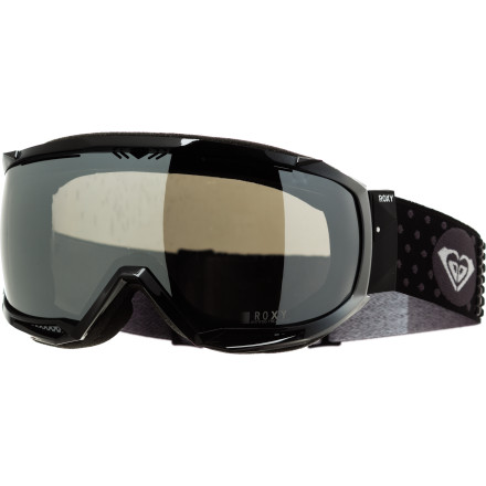 Snowboard Roxy made the Women's Isis Goggle for serious shredders. Bomber PU-injected frame surrounds a shatter-, scratch-, and fog-resistant, high-def polycarbonate double lens backed by triple-compression molded face foam that's lined with soft, comfy fleece. If that weren't enough, the lens provides a sweeping 160-degree field of vision, so you can turn up the speed and be vigilant of stray beaters. - $69.75