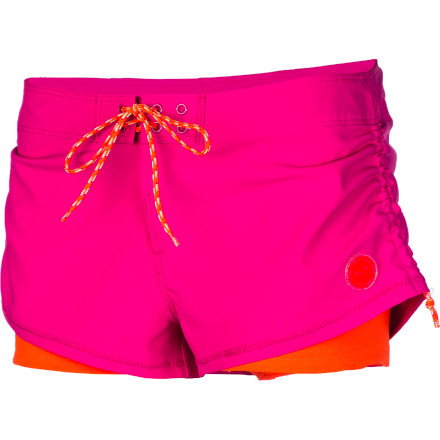 Surf The Roxy Women's Doubled Board Short offers a sporty look and comfortable double layers while you practice your skim- or wake-boarding skills. - $39.20