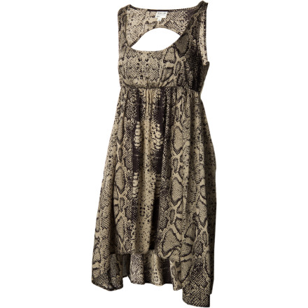 Entertainment For your birthday shindig or girls' night out, wear the RVCA Women's Drench Dress. Its empire waistband, shirring detail, and tiered gathering at sides offer you a rockstar look when paired with tights and knee-high boots. - $38.96