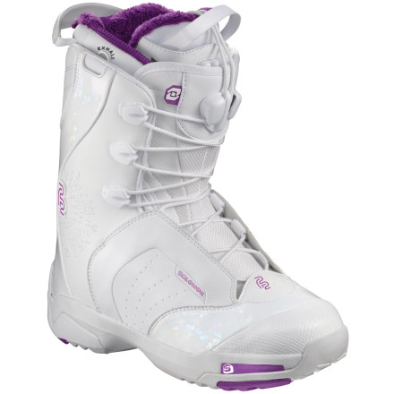 Snowboard Break down the barriers between you and your board with the Salomon Womens F22 Snowboard Boot. The F22's Fusion Exhale liner is ultra-low-profile for maximum board feel and response. It also includes valve to release air pressure generated by wearing the boot, slow liner breakdown, and increase your comfort. - $181.32