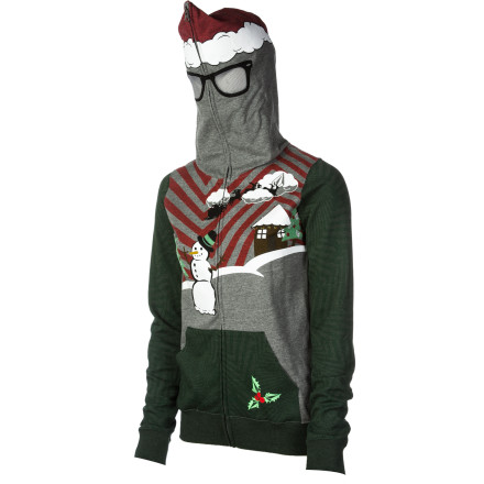 Surf The Volcom Women's Ugly Xmas Sweater Full-Zip Sweatshirt wins the award for best holiday outfit at your stuffy office party. Mesh eye panels enable you to view your co-workers from afar when you zip up its hood, go incognito, and witness the office debauchery. - $48.71