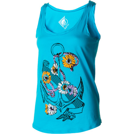 Surf The Volcom Women's Anchors Ahoy Twister Tank Top has a casual, happy look that brings in a bit of the springtime joy that your usual anchor-themed clothing might lack. - $14.27