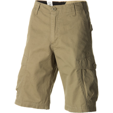Surf The Volcom Racket Men's Cargo Short is for guys who are more worried about their shorts lasting through the summer than keeping up with the latest trends. It's made with a rugged cotton twill fabric for durability, has a relaxed fit to give you room to move, and features side cargo pockets to carry your essentials. - $54.95