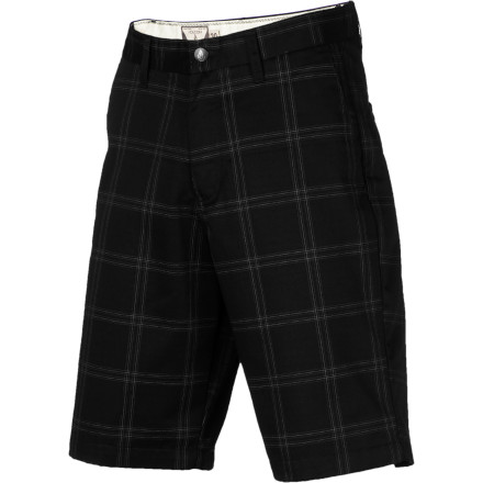 Surf When it starts to get too hot to skate in jeans anymore, switch over to the Volcom Frickin Plaid Short. It has a relaxed fit and it's made with a polyester and cotton twill blend so that it breathes and wicks moisture to keep you cool, and it's durable enough to handle the spills you're inevitably going to take. - $49.45