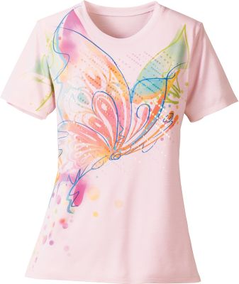 Hunting The sublimation dye and lightly sequined designs on these comfortable 100% polyester Artisans Watery Tee Shirts create the look of fine pastel watercolor on parchment. Machine washable. Imported. Sizes: S-2XL. Colors: Poppy, Chrysanthemum, Iris, Hibiscus, USA Sequins, Pro Patriotic Sequin. Size: SMALL. Color: Chrysanthemum. Gender: Female. Age Group: Adult. Material: Polyester. - $17.88