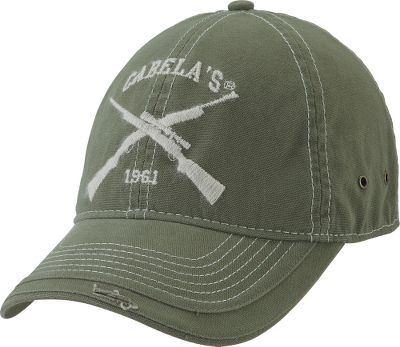 This heavy-washed canvas cap features crossed guns embroidery with a unique yarn stitch. Six-panel unstructured crown, antique eyelets and frayed visor. Adjustable hook-and-loop fastener with antique metal D-ring. One size fits most. Imported. Color: Sage. - $12.99