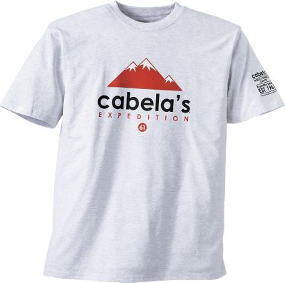 From steep mountains to rugged backcountry trails, wear a tee thats built to explore. Made of 6.1-oz. 100% cotton jersey knit for exceptional softness. Shoulder-to-shoulder taped seams and double-needle stitching at the sleeves and hem for long-wearing durability. High-quality screen-printed graphics. Machine washable. Imported. Sizes: M-2XL. Colors: Thunderstruck, Ash Heather, Crimson. - $17.99