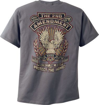 Hunting Do you support your 2nd Amendment right to keep and bear arms? Then show others where you stand on the issue with a Cabelas exclusive tee shirt that leaves no doubt. It vividly portrays an eagle and reads protect the home. Crafted of a durable 6.1-oz. 99/1 cotton/polyester blend fabric thats soft and breathable. Machine washable. Imported.Sizes: M-2XL.Color: Grey. - $17.99