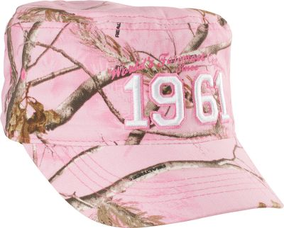 Hunting Youth-sized, military-style cap made just for girls. Cabelas inaugural year flat-stitch embroidered on the front and Cabelas logo on the back. Pre-curved bill and hook-and-loop adjustable back closure. Made of brushed polyester/cotton blend. One size fits most. Imported.Camo pattern: Realtree APC (Pink). - $9.88