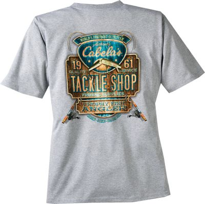 Fishing Cabelas-exclusive logos matched with original prints give these angler-friendly tees an authentic outdoor look and style. Full-color screen-printed graphics on the left chest and back. Solid colors are made of 6.1-oz. 100% cotton jersey knit for softness and long-wearing durability. Heather Gray is 99/1 cotton/polyester. Preshrunk. Machine washable. Made in USA and Imported. Sizes: M-2XL. Designs: Cast Away, Reel Lucky, Walleye. - $17.99