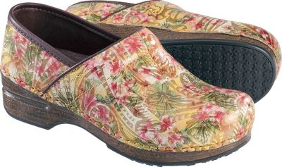 The same comfort and movement of classic Dansko clogs with even less weight. Danskos flagship clogs contoured midsoles cradle and support your feet, while rocker bottoms alleviate fatigue to keep you going all day long. Roomy toe boxes allow toes to move freely. Superior shock absorption, comparable to athletic footwear. Leather uppers with antimicrobial linings. Stapled outsoles carry the seal of acceptance from the American Podiatric Medical Association. Removable triple-density EVA footbeds. Nonslip rubber outsoles with raised tread pattern. Imported.Heel height: 2.Womens European sizes: 37-41.Color: Floral Print. Type: Clogs. Size: 38. Shoe Width: MEDIUM. Color: Floral Print. Size 38. Width Medium. Color Floral Print. - $79.88