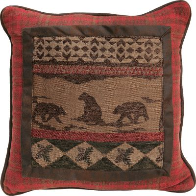 Entertainment Woven in rich tones of caramel, brown and burgundy, these pillows are crafted of a heavy cotton/polyester fabric and are sure to complement any rustic dcor. Dry-clean is recommended. 100% polyester fill. Per each. Imported. Available: Bear-scene pillow: Beautiful Western-style silhouettes of bears, pine cones and shapes with burgundy-plaid border. Dimensions: 18 x 18. Square pillow: Rustic polyester faux leather accented by a center button and burgundy-plaid border. Dimensions: 18 x 18. Envelope pillow: Rectangular-shaped pillow with same print as bear-scene pillow on an attractive, buttoned-down overlay. Dimensions: 21 x 16. Color: Brown. Type: Pillows. - $42.99
