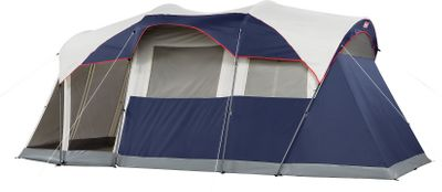 "Camp and Hike Camp in luxurious comfort with this two-room tent that fits two queen air beds and features a screened-in area for protection against insects. Its heavy-duty, cabin-like structure is well-suited for extended camping trips. Self-rolling windows, patent-pending hinged door and easy setup with continuous pole sleeves and InstaClip attachments. WeatherTec System protects you from the elements with leak-free seams, weather-resistant polyester fabric, 1,000-denier waterproof polyethylene tub floor and weather-guarded zippers. Comes with 100-lumen tent light that runs on four D batteries (not included) and a 75-denier polyester-taffeta rain fly. Durable shock-corded 19mm steel and 6.3mm fiberglass poles. Includes carry bag with separate storage spaces for the tent, poles and stakes; setup instructions stitched inside carry bag. Imported. Weight: 32 lbs. Type: Cabin Tents. Sleeping Capacity: 6 Person. Model: Elite WeatherMaster. Floor Size: 17' x 9'. Center Height: 6' 8"". - $249.99"