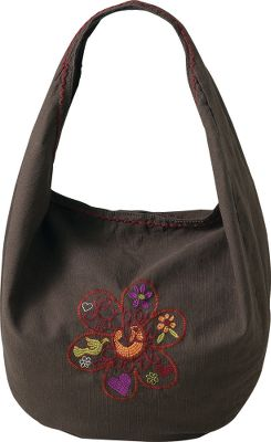 Fitness With a vintage look and broken-in feel, this handy hobo bag is crafted from 100% cotton slub. Enzyme-washed for a broken-in hand with fun, funky flowered embroidery. Great for running errands around town, trips to the beach or everyday carry. Imported.Dimensions: 14W x 16H x 4D.Color: Licorice Brown. - $22.88