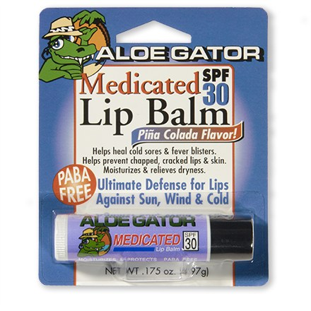 Camp and Hike This medicated Aloe Gator lip balm with SPF 30 is great for extended exposure to harsh sun rays-on the water, in snow, or at altitude! SPF 30 formulation protects your skin while the medication helps heal chapped or sunburned lips and cold sores. Fun fruity formula is non-greasy and has moisturizing properties to relieve dryness. Water resistant and PABA free; glides on easily and lasts, even during high-activity sports. Apply liberally before sun exposure and apply as needed. - $0.93