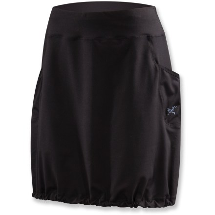 The soft, quick-drying Arc'teryx Corbela skirt excels both indoors and outdoors and packs up small. Polyester/spandex blend stretches with you, feels soft against your skin, dries fast and wicks moisture away from your body for cool, dry comfort. Front and back yoke are lined with cooling single-knit jersey fabric. Corbela skirt has a wide elastic waistband for comfort and a drawcord hem to customize look and fit around legs. Closeout. - $23.73
