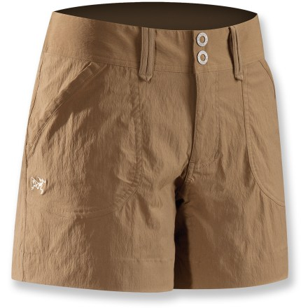 Camp and Hike Suitable for climbing, trekking, hiking and traveling, the urban-inspired Parapet shorts from Arc'teryx are lightweight, breathable and durable. Quick-drying, durable fabric breathes well and wicks moisture from your skin; spandex adds nice stretch for comfortable mobility. Wide waistband with a zipper fly and 2-snap closure. Hand pockets and back pockets. Arc'teryx Parapet shorts have a relaxed, easygoing fit. Closeout. - $30.73