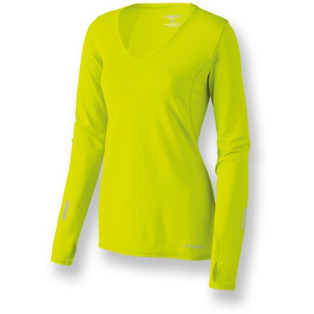 Fitness Once you have the Brooks Essential V-neck shirt in your running wardrobe, you won't mind trading those hot and sticky summer runs for cooler weather. Incredibly soft, wicking polyester fabric with a touch of stretch moves moisture away from skin and to the exterior of the shirt for rapid evaporation. Bright colors help you get noticed on the run. Essential V-neck shirt features a flattering V-neckline that offers key ventilation. Long sleeves include thumbholes to keep your hands covered; gloves or mittens are easy to layer on top when the sleeve cuff stays put. - $30.93