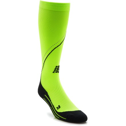 Fitness Shine some light on your run with the men's CEP Neon Night Running Compression socks. They're made with high visibility neon and added reflectors to boost your visibility to others. Increased oxygenation is proven to extend energy, improve the metabolization of lactic acid and speed recovery from intense workouts. Compression socks enhance blood circulation, fueling muscles before, during and after activities; run with less effort, and experience more speed and less recovery time. Highly-developed, circular-knit construction incorporates an anatomically correct compression fit for superior performance. The circular-knit results in a physiologically perfect fit for an increase in performance, endurance and recovery. Wear CEP Neon Night Compression socks prior to exercise to activate muscles for reduced risk of injury. Wear during exercise to reduce muscle strain and optimize performance and stabilization and post exercise to hasten the recovery phase. Padded foot soles help prevent blisters, and ventilation channels circulate cooling, drying air around feet; socks also support Achilles tendons and shins. Enjoy fitted comfort: right- and left-foot-specific socks accommodate to the anatomy of the feet; ventilation channels for increased airflow. *Discount will be applied when you check out. Offer not valid for sale-price items ending in $._3 or $._9. - $32.83