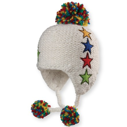 Snowboard The Chaos Simmons Earflap beanie outfits your child in adorable warmth. Soft acrylic provides the warmth of wool without the itch, and it dries quickly. Soft polyester earband lining adds extra warmth. Closeout. - $9.83