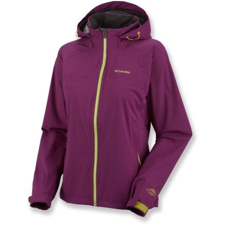 Entertainment The Columbia Jet Stratus shell jacket lets you go fast and light up the mountain while giving you high-performance protection against the elements. Features stretch nylon fabric with Omni-Tech(R) technology for premium waterproof, breathable protection; fully sealed seams. Waterproof front zipper; waterproof zippers on handwarmer pockets. Drawcord hem; internal key clip. Attached, adjustable storm hood with brim keeps the rain off your face. The Columbia Jet Stratus shell jacket has a drop-tail hem for more coverage in back. Closeout. - $109.73