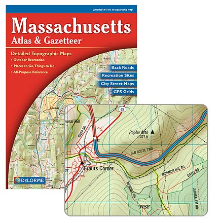Camp and Hike Topographic maps for the entire state in book form, with unequaled backroad detail--includes detailed street maps of Boston, Springfield and Worcester - $19.95