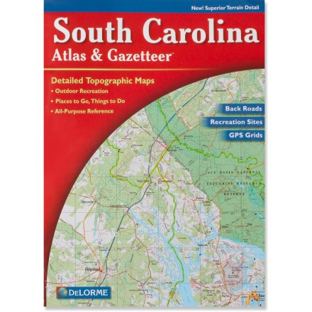 Camp and Hike This atlas and gazetteer from DeLorme(R) offers detailed maps and points of interest for the entire state of South Carolina - $19.95