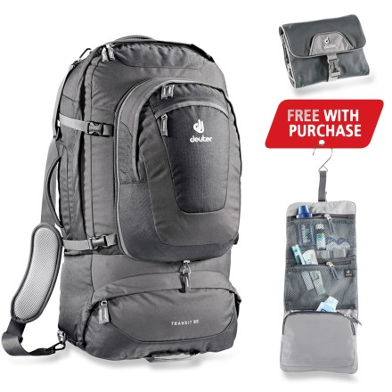 Camp and Hike The Deuter Transit 65 backpack is the ultimate partner for trips abroad with its stylish design and timeless colors. Its trademark is the suitcase/backpack carrying options that make traveling easy. - $189.00