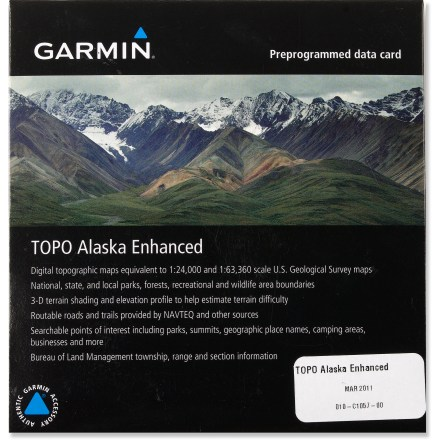 Camp and Hike The Garmin TOPO Alaska Enhanced microSD data card serves up detailed 24K and 63K topographic maps on compatible GPS units for all your Alaskan adventures. - $99.95