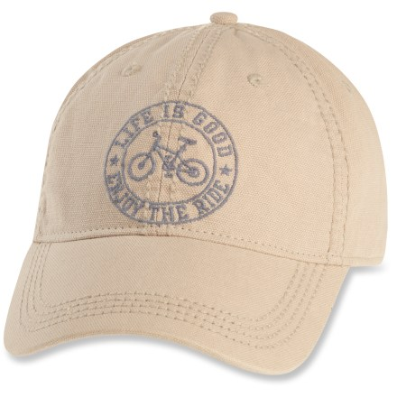 Sports Get in the groove with the sporty Life is good(R) Heavy Stitch Chill cap. Made with soft cotton twill, this ball cap is extremely comfortable and requires little or no break-in time. Garment-washed for a weathered look and feel. Adjustable rear strap lets you dial in the fit. - $22.00