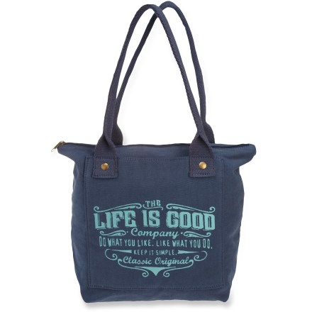 Entertainment This Life is good(R) Canvas Pocket Tote Bag is fun and practical. Main compartment is sized to handle essentials and keep your latest reading choice on hand-works great as an airline carry-on. Deep outside pocket allows easy access to necessities. - $21.93