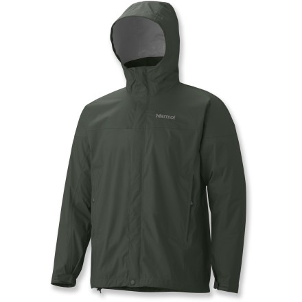 The men's all-season Marmot PreCip rain jacket in extended sizes is not only lightweight and compressible, but renowned for its water shedding, breathable performance and reliable comfort. PreCip features a 2.5-layer waterproof, breathable polyurethane coating; ceramic particles add durability, waterproof reliability, and better Dry Touch comfort. Next-to-skin Dry Touch finish reduces condensation, helping to eliminate that clammy feeling. Hood design with peripheral cord adjustment accommodates full visibility; hood rolls into integrated collar when not needed. Pack Pockets(TM) allow easy access even with a pack on; 1 pocket serves as a stuff sack. Pit zipper ventilation; double storm flaps; DriClime(R) chin guard; drawcord hem; adjustable rip-and-stick cuffs. PreCip is designed to fit over a fleece or soft shell. - $84.93