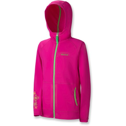She'll be the queen of the campground in the colorful Marmot Lacey hoodie. Performance nylon stretches to fit, dries fast and resists scrapes and snags. Fabric provides UPF 50+ sun protection, shielding skin from harmful ultraviolet rays. Marmot Lacey hoodie has novelty embroidery and screen print for girlish flair. - $45.00