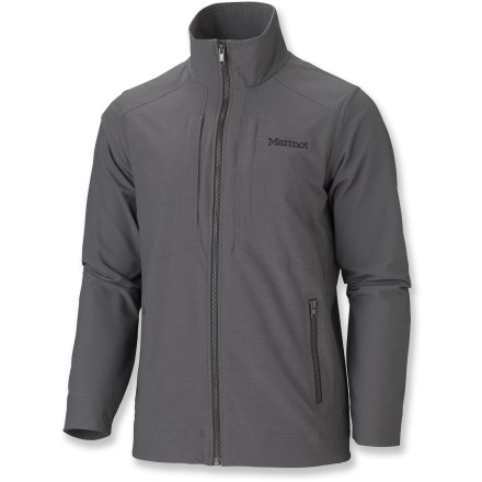 The Marmot E Line soft-shell jacket provides stretch comfort, breathability and weather resistance in a clean urban design. - $86.83