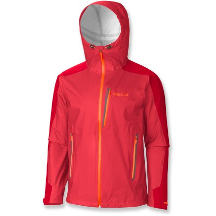 The Marmot men's Speedri jacket offers ultimate protection from wind, rain and other harsh conditions, letting you hit the trails in weather that keeps everyone else hiding inside. Reliable MemBrain(R) FusionDri 3-layer breathable waterproof nylon blocks rain and wind while remaining breathable thanks to a 3-D backer that sits just off the skin. Seams are 100% taped for complete protection. Attached adjustable hood features a laminated wire brim that shields your face from precipitation; adjustable sleeve cuffs are asymmetrical to optimize coverage. 2 zippered hand pockets and 1 zippered chest pocket offer secure storage. Integrated cooling vents promote temperature regulation in varying conditions. The Marmot Speedri jacket features Angel-wing Movement(TM) sleeves that allow unrestricted arm motion so the jacket won't ride up. - $179.83