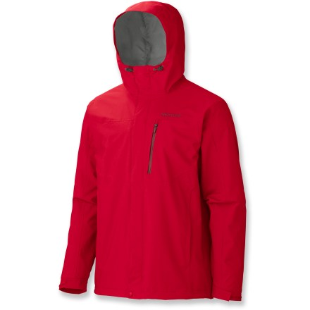 When it comes to protection from the wet and cold, The Marmot Rincon jacket doesn't hold back; waterproof breathable nylon has you covered whenever you need it. PreCip(R) material is waterproof and breathable to reduce condensation and that clammy feel, for next-to-skin comfort. 100% taped seams seal out the elements. Attached adjustable hood tightens for snug fit and improved visibility. 2 zippered hand pockets and 1 zippered chest pocket secure small essentials. Adustable rip-and-stick cuffs and additional drawcord at hem seal in warmth and ensure a snug fit. Marmot Rincon jacket features Angel-wing Movement(TM) sleeves for unrestricted arm motion so the jacket won't ride up. - $69.83