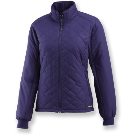 Camp and Hike The Merrell Lumi jacket is a super-lightweight, packable jacket for women on the move. Jacket packs into its own interior lumbar pocket to become a convenient neck pillow for use during lightweight travel and backpacking. Polyester shell is treated with a Durable Water Repellent finish to repel moisture and stains. Opti-Warm(TM) synthetic insulation (100g in body, 60g in sleeves) keeps you toasty on adventures, and retains warmth even when wet. Taffeta lining with satin piping slides easily over layers. High collar offers protection for your neck and face from the cold; soft chin guard prevents unpleasant chafing. Features N.A.D.A.(TM) (Not Any Dye Applied)-all the same technical performance but without the use of chemical fabric dyes. N.A.D.A is only available in the undyed colorway. Merrell Lumi jacket features zippered handwarmer pockets and an internal zippered chest pocket for stowing small valuables. Closeout. - $42.83